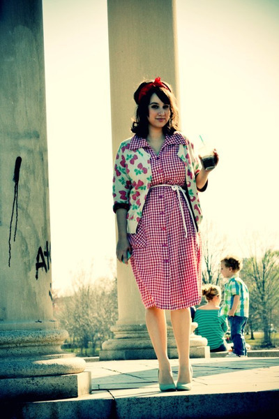 gingham vintage dress - Cooperative cardigan - Urban Outfitters heels