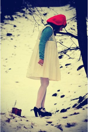 red handmade hat - black Jeffrey Campbell shoes - ivory Darling dress