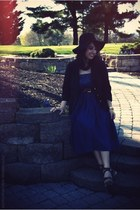 blue unknown dress - black floppy hat Deena & Ozzy hat - black black blazer Fore