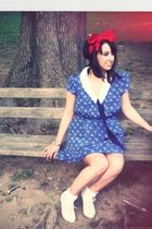 blue Urban Outfitters dress - red DIY accessories - white seychelles shoes