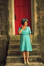 Turquoise-blue-printed-vintage-via-swap-with-the-modest-muse-dress