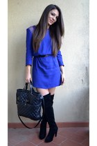 black H&M dress - blue Zara bag