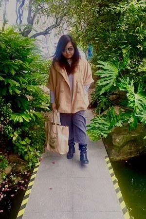 camel cape coat Zara cape - black boots H&M boots - beige tote Celine bag