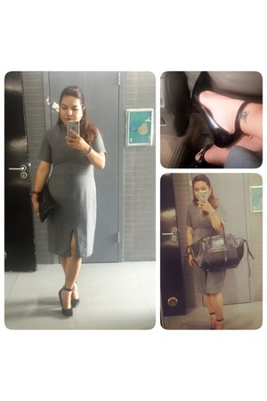 heather gray dress - dark gray Celine bag