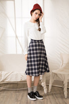 white shalex shirt - navy shalex skirt