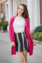 black shalex boots - gray shalex skirt - hot pink shalex cardigan