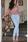 Stradivarius-jeans-nude-flower-new-look-heels-patterned-sheer-h-m-blouse