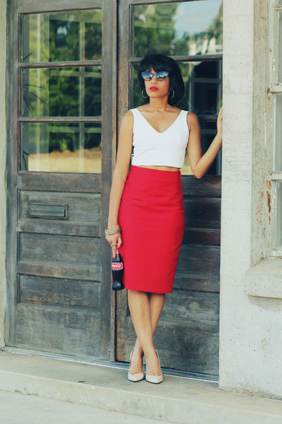 Zara top - Zara skirt - Zara heels