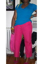 isacc mizrahi purse - Poetic License heels - pink trail pants - sally hansen acc