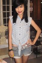 light blue polka top Friends Property blouse - silver H&M shorts