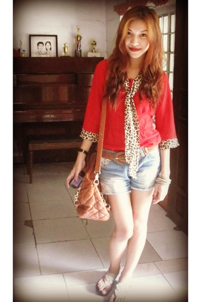 ruby red vintage blouse - burnt orange thrifted vintage bag