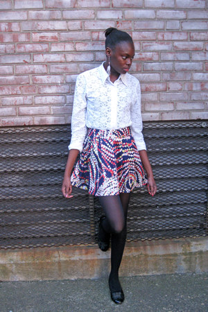 lace thrifted shirt - colorful Forever 21 skirt