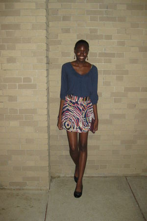 blue Old Navy top - red Forever 21 skirt - black fergielicious by fergie shoes
