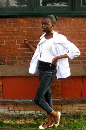 white trench Marshall jacket - white feathered Forever 21 sweater