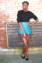 teal color block H&M skirt - black wool thrifted sweater