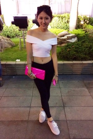 white bandage top top - neon pink Steve Madden purse - H&M sneakers