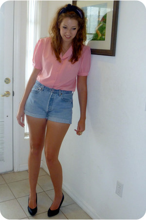 pink thrifted blouse - cut-off levis vintage shorts - black H&M heels