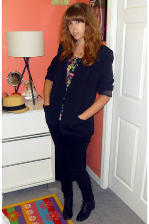 skinny Charlotte Russe jeans - thrifted blazer - multi-color Forever 21 top