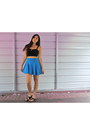 Blue-loose-flowing-forever-21-skirt-black-kohls-top