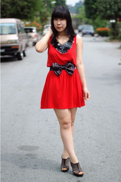 red Topshop dress - black Dirty Pretty Things accessories