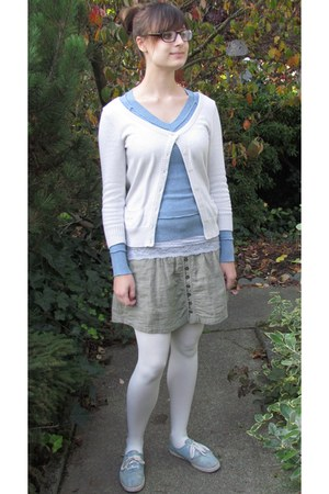 dark khaki American Eagle skirt - sky blue Wet Seal sweater
