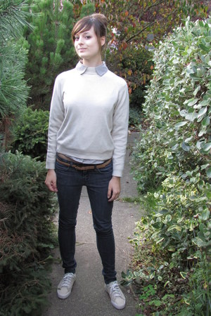 brown Ralph Lauren belt - navy Forever 21 jeans - silver banana republic blouse