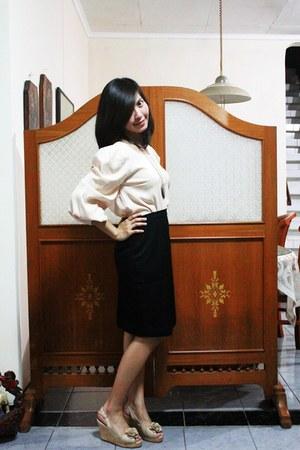 Velvet top - tailor-made skirt - shooz wedges - Forever 21 necklace