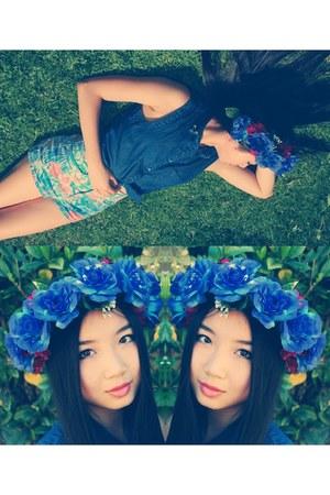 floral Topshop shorts - denim junk shirt - floral crown DIY accessories