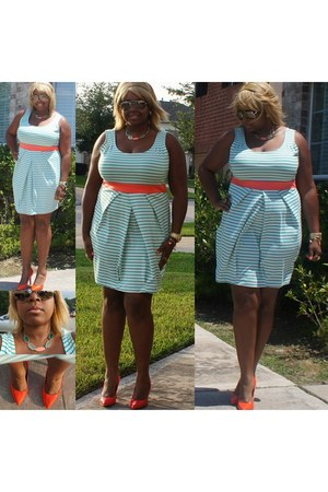striped Forever 21 dress - aviator Michael Kors sunglasses