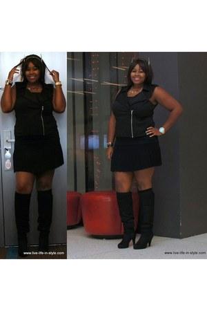 black Fioni boots - black zipper xhilaration vest