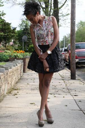 nude sheer H&M blouse - purple Forever 21 skirt