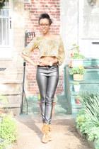 H&M leggings - cropped top Shavonne DeAnn top - suede Steve Madden sandals - gol