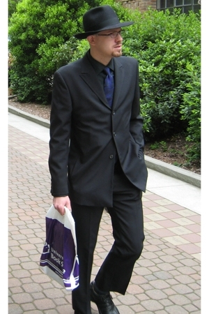black Borsalino hat - black ben sherman shirt