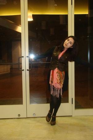Forever 21 vest - hip skirt - BP shirt - folklife festival scarf - vintage tight
