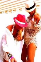Fedora hat - romeo & juliet top - Juicy Couture swimwear - Honesty bracelet