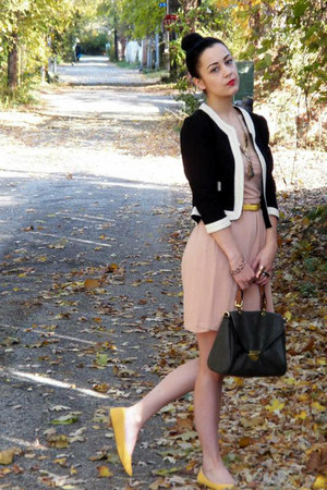 cotton dress - wool jacket - faux leather bag - yellow flats - leather belt