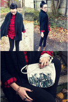 vintage zebra bag - brown lace-up boots - basic leggings - plaid flannel shirt