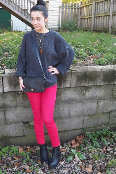 oversized sweater - platform Deena & Ozzy boots - BDG jeans - vintage coach bag