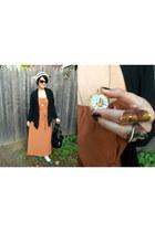 watch necklace - chiffon dress - straw porkpie hat - faux leather bag