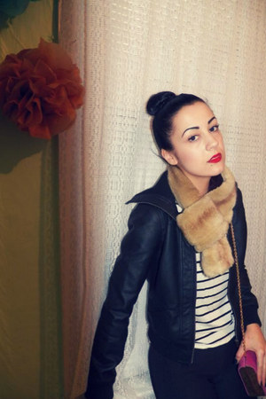 faux-fur UO scarf - faux leather Forever 21 jacket - striped H&amp;M shirt
