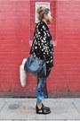 Blue-dip-hem-vintage-dress-black-asos-boots-black-leather-topshop-jacket