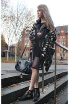 black cut out u shape Ebay boots - black leather asos jacket
