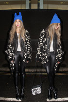 blue blue thrifted hat - black goth H&M boots - black leather asos jacket