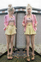 bubble gum pink vintage blazer - light yellow bow DIY shorts