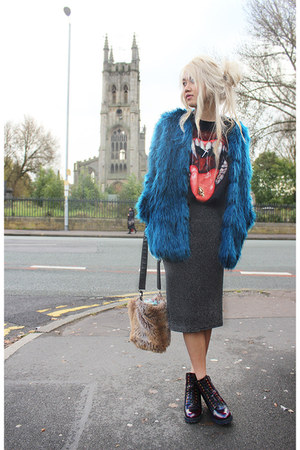 teal fur Topshop coat - crimson Office boots - black fangs unknown top