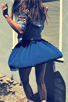 black Vintage Fossil purse - blue chiffon American Apparel skirt - blue button u