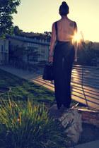 black backlesssheer American Apparel dress - black Thrifted Coach purse - black