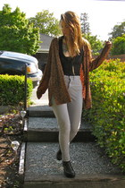 heather gray American Apparel jeans - tawny leopard print thrifted cardigan - bl