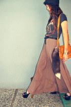 tawny embossed vintage bag - black Jessica Simpson pumps - light brown maxi Fore