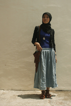 blue skirt - brown shoes - brown handmade accessories - blue top - black blouse